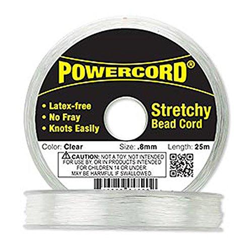 Powercord Elastic Clear 0.8mm. 0.0314 inch 25-meter spool.