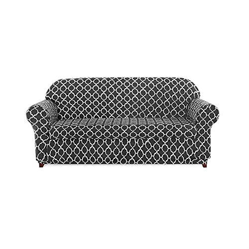 DGFDS Universal Sofabezüge, Jacquard Stretch Sofabezug Polyester-Spandex-Sesselbezüge Blumenmuster Anti-Rutsch-Couchbezug Für Haustiere (Color : Gray, Größe : 3 Seater/Sofa)