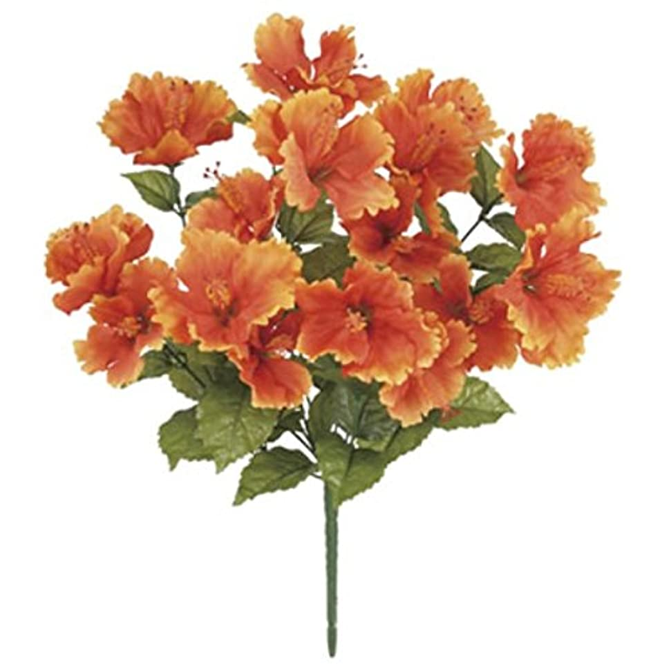 見通し触手バルーントロピカルハイビスカスブッシュ *16(オレンジ)(FLB8018OR)[トロピカルハイビスカス ハイビスカス 造花 ブッシュ 束 アートフラワー]