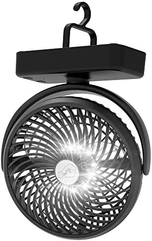 Amacool 10000mAh Battery Operated Camping Fan with LED Light 7 inch USB Fan with Hanging Hook product image