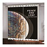 Daesar Cortinas para Habitacion Opacas Colorido Cortina Poliester Habitacion Planeta con Letra Peace y Love I Love This Earth 264x274CM