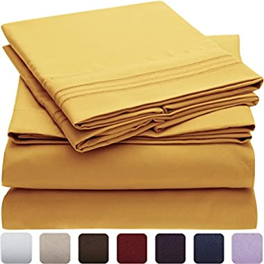 Mellanni Bed Sheet Set Brushed Microfiber 1800 Bedding - Wrinkle, Fade, Stain Resistant - Hypoallergenic - 4 Piece (Queen, Yellow)