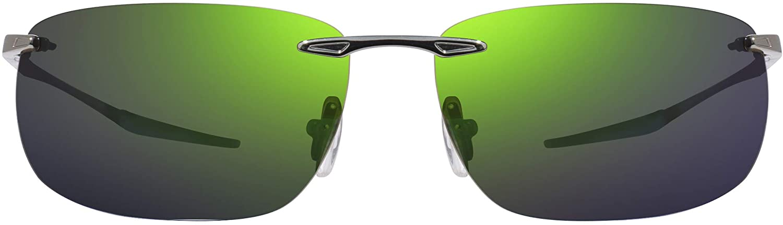 Revo Sunglasses Descend Z: Polarized Crystal Glass Lens Filters UV, Metal Rimless Rectangle Frame