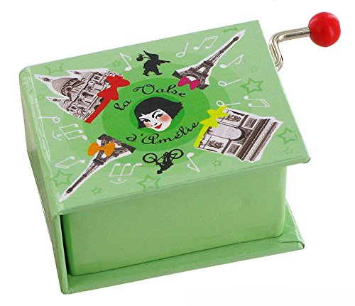 Caja de música/caja musical de manivela de cartón en forma de libro - El vals de Amélie Poulain - El fabuloso destino de Amélie Poulain (Yann Tiersen)