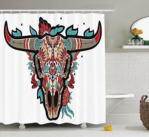 XZLWW Western douchegordijn buffel suiker schedel kleurrijke sierlijke ontwerp hoorn dier trofee turkoois rode taupe