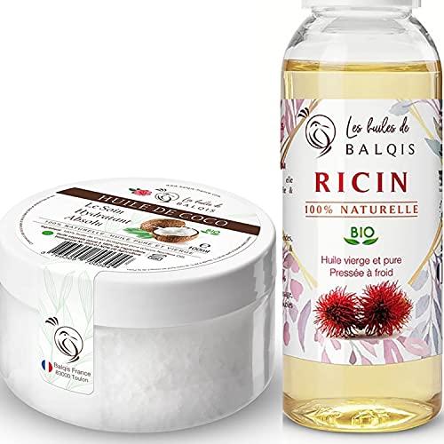 100ml Huile de Noix Coco bio & 50ml Huile de Ricin bio pure 100% naturelle pressée à froid hydrate la peau stimule et renforce la pousse des cheveux barbe sourcils ongles & oméga 6/9