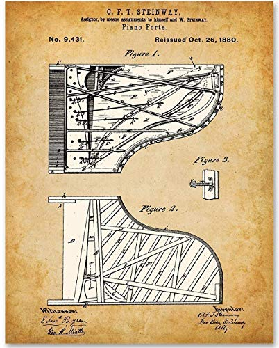 Steinway Piano - 11x14 Unframed Patent Print - Makes a Great Gift Under $15 for Piano Players or Musicians
