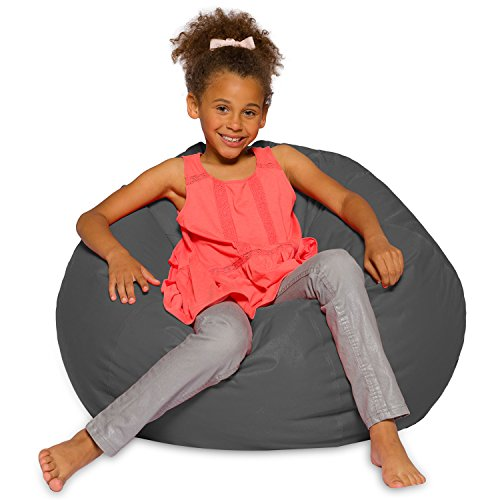 Posh Creations Big Comfy Bean Bag Posh Large Beanbag Chairs with Removable Cover for Kids, Teens and Adults Polyester Cloth Puff Sack Lounger Furniture for All Ages, 27in, Heather Gray