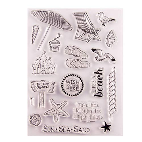 Mmnas Beach Silicone Clear Stamp Seal DIY Scrapbook Embossing Album Decor Craft Art