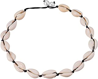 """Natural Cowrie Shell Choker Necklace Adjustable Pearl Cord Necklace 17.7"""""""
