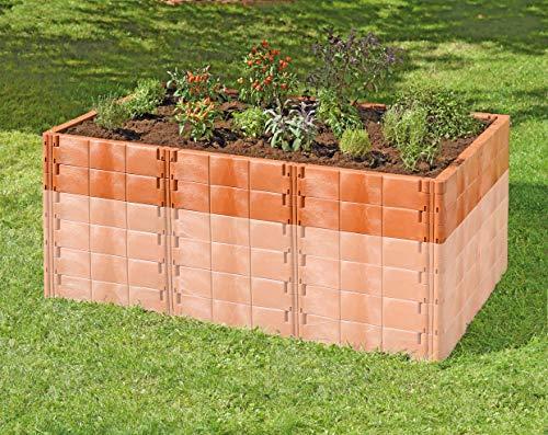 Juwel Aufbausatz zu Hochbeet Profiline Größe 2 (20 Bausteine in terracotta, Gemüsebeet Füllinhalt wird bis 500 l erweitert, Größe 190x121 cm, Höhe 26 cm, Pflanzenbeet mit Stabilisierungs-Set) 20295