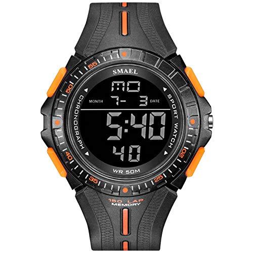 SMAEL Reloj de Reloj Digital Militar Sumergido de Pantalla LED Relojes de Pulsera para Hombre a Prueba de Agua Cronógrafo Calendario Relojes Deportivos 1315,Black Orange