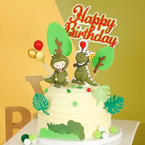 Juego de 11 adornos para tartas con diseño de dinosaurio, d