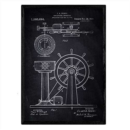 Nacnic Poster con patente de Timon. Lámina con diseño de patente antigua en tamaño A3 y con fondo negro