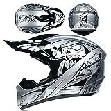 LCRAKON Casco de Moto, Casco de Motocross Niños Casco Integral MTB Todoterreno con Gafas Guantes Máscara, Equipo de Protección para Bicicleta de Montaña Eléctrico de Bici de Tierra Quad - Momia Plata