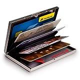 MyGadget Tarjetero Metalico con Bloqueo NFC - Slim Wallet Cartera Anti RFID - Porta Tarjetas de Credito con 6 Compartimientos para Hombre Mujer - Plateado