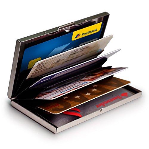 ACCESORIO IDEAL - El monedero para cartas tiene un aspecto metálico minimalista y con sus 6 ranuras, le da facilidad para separar y seleccionar la tarjeta que necesite. DISEÑO PRÁCTICO - Se adapta cómodamente a subolsillo. Su diseño simple tipo acor...