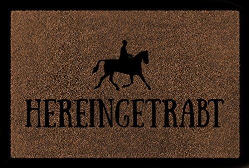Interluxe TÜRMATTE Fußmatte HEREINGETRABT Hobby Reiten Pferd Stall Türvorleger Geschenk Braun