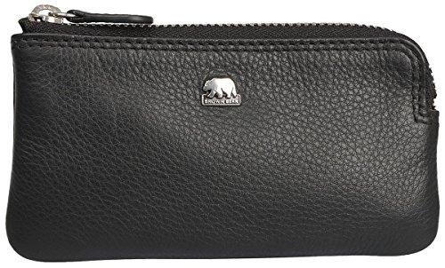Brown Bear Schlüsseletui Leder Schwarz Reißverschluss Doppelnaht hochwertig