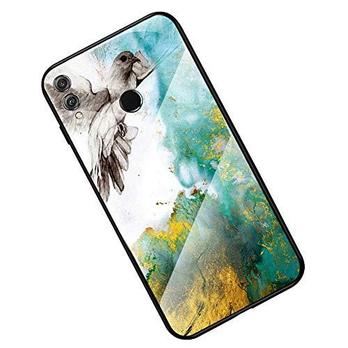 Kompatibel mit Huawei Honor 8X Hülle, Huawei Honor 8X Handyhülle,Ysimee Marmor Schutzhülle Gehärtetes Glas Rückseite und TPU Hülle Ultra Dünn Kratzfeste Handyhülle, Marmor Rot