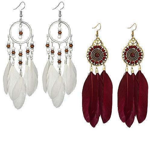 Tpocean Pendientes de borla largos de plumas de estilo bohemio con borla de aleación vintage para mujeres y niñas