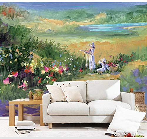 Pintura Al Óleo Americana Estilo Bosque Paisaje Papel Pintado Moderno Minimalista 3D Tv Fondo Pared Dormitorio Mural