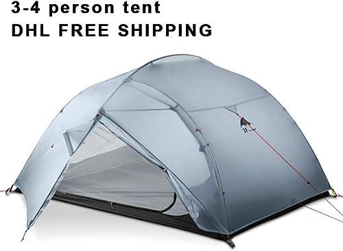 MDZH Tente 3 Personne 4 Saison 15D Tente De Camping en Plein Air Ultra-Léger Randonnée Randonnée Sac à Dos Chasse Tentes Imperméables