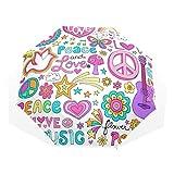 LASINSU Paraguas Resistente a la Intemperie,Peace Love and Dove Flower Power Groovy Psychedelic Notebook Doodles Set,Fitness Entrenamiento Fuerte Grunge Print