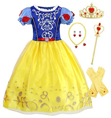 AmzBarley Prinzessin Schneewittchen Kostüm Kinder Mädchen Kleid Verkleidung Schick Party Kleider Halloween Karneval Cosplay Geburtstag Ankleiden Kleidung