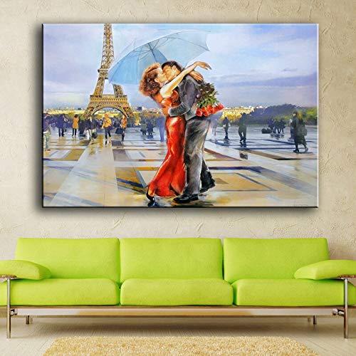 Puzzle 1000 piezas Cuadro del beso de los enamorados pintado bajo la Torre Eiffel puzzle 1000 piezas educa Juegos familiares para adultos divertidos para niños Rompecabezas de50x75cm(20x30inch)