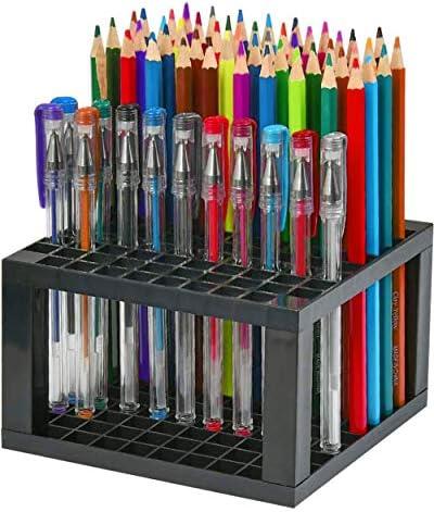 96 Hole Pencil Brush Holders 2 Pack Multi Bin Plastic Desk Stand Organizer Holding Rack for product image