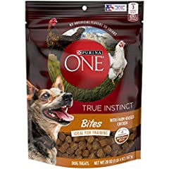 One (1) 20 oz. Pouch - Purina ONE Made in USA Facilities Dog Training Treats, True Instinct Bites With Farm-Raised Chicken Real chicken is the #1 ingredient Protein-rich treats Contains no artificial flavors or colors Made with farm-raised chicken