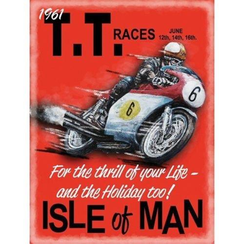 PLAQUE METAL 40X30cm AFFICHE ISLE OF MAN TT RACES DE JUIN 1961