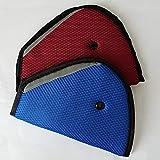 AK KYC Niños Ajustador de Cinturón de Seguridad 2 Paquete coche azul rojo Lid Strap Mash Hombro Pad Cinturón de seguridad para niños