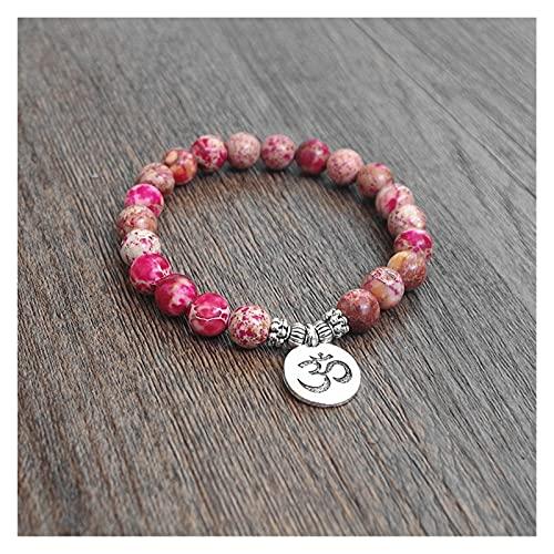 HLH Joyería Hecha a Mano Perlas de Piedra Natural Brazalete Mujer Hombres Yoga curación Chakra Mala oración Encanto Pulsera (Metal Color : OM)