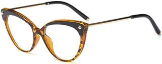 Aiweijia Unisex Retro Optical Glasses Solid Color Printed Plastic Metal Round Full Frame Cat Eye Sunglasses