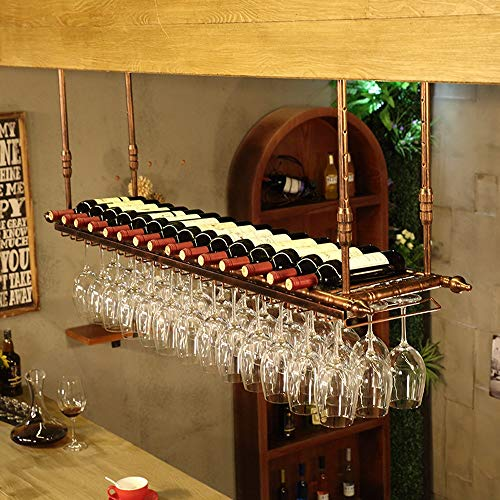 CYHJJzgl Botellero De Techo, Porta Copas, Botellero Colgante, Porta Botellas, Montaje En Pared, Altura Y Ancho Ajustables (Color : Brass, Size : 60×30 cm)