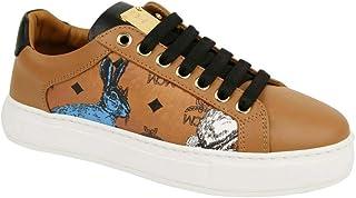 MCM Women's Cognac Brown Visetos Leather Rabbit Print Sneakers MES9AMM76CO0