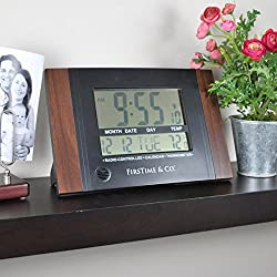 FirsTime & Co. Executive Digital Tabletop Clock, 11.5 H x 7.5 W, Black
