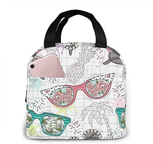 Divertidas gafas de sol con aislamiento portátil, bolsa térmica para el almuerzo, con bolsillos, asas duraderas para el trabajo, senderismo, playa, picnic, pesca