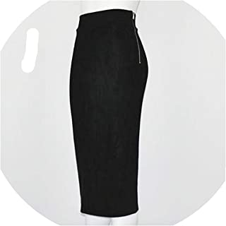 d535ad55225fc6 Women Vintage High Waist Solid Suede Midi Skirt Back Split Thick Stretchy  Faux Leather Skirt