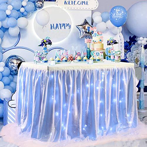 NSSONBEN Blu Tulle Gonna da Tavolo LED Tutu Gonne da Tavolo per Matrimoni Feste Festa di Compleanno Bambino Doccia Decorazione 3Yard/9ft/L275cm*H77cm