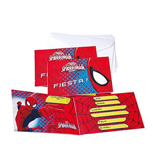 Spider-Man Verbetena 014300013 Lot de 6 Invitations avec enveloppes
