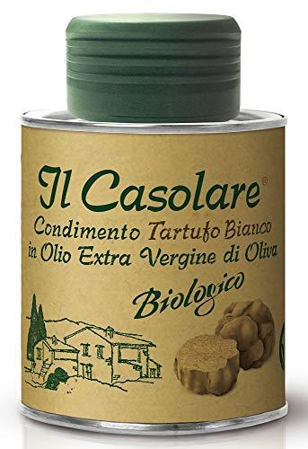 Farchioni Il Casolare - Bio Weißes Trüffelöl (100 ml) - Kaltgepresstes Ungefiltertes Extra Natives Olivenöl - Weiße Trüffelessenz - Gourmet-Gewürz Marinade Salatdressing - 100ml Blechdose
