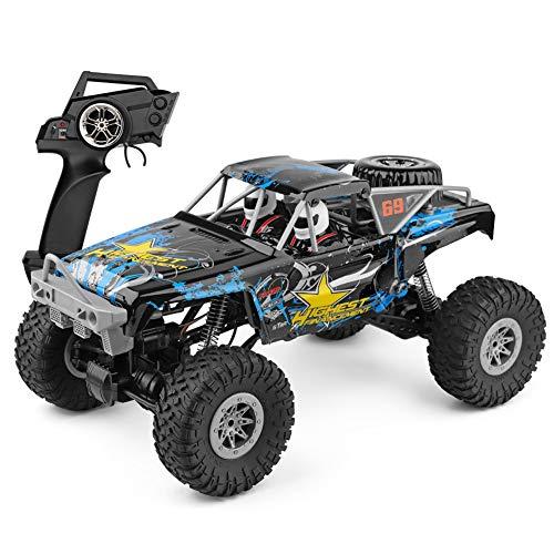 XLST Coche RC Escala 1:10 4X4 Todoterreno Coche Teledirigido 2,4 GHz Camiones Monstruo Eléctrico Impermeable Calesa Vehículo De Juguete para Adultos Y Niños (Azul)