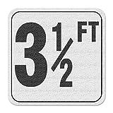 Aquatic Custom Tile Vinyl 3M Adhesive Swimming Pool Deck Depth Marker 3 1/2 FT, 4 inch Font