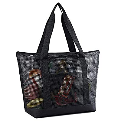 Mesh Beach Bags, Grocery Produce Tote Bag with Zipper & Pockets for Gym, Picnic, Shopping or Travel