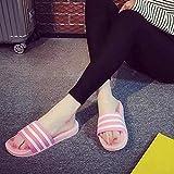 ypyrhh Sandalias de ducha Casa, zapatillas de rayas deslizantes, sandalias de casa para parejas-Rosa_38, Chanclas de casa suave para interior