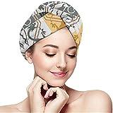 DJNGN Hair Dry Gothic Dragons Seamless 2021 Asciugamano per Capelli Wrap Turbante per Capelli ad Asciugatura Rapida per Capelli Ricci