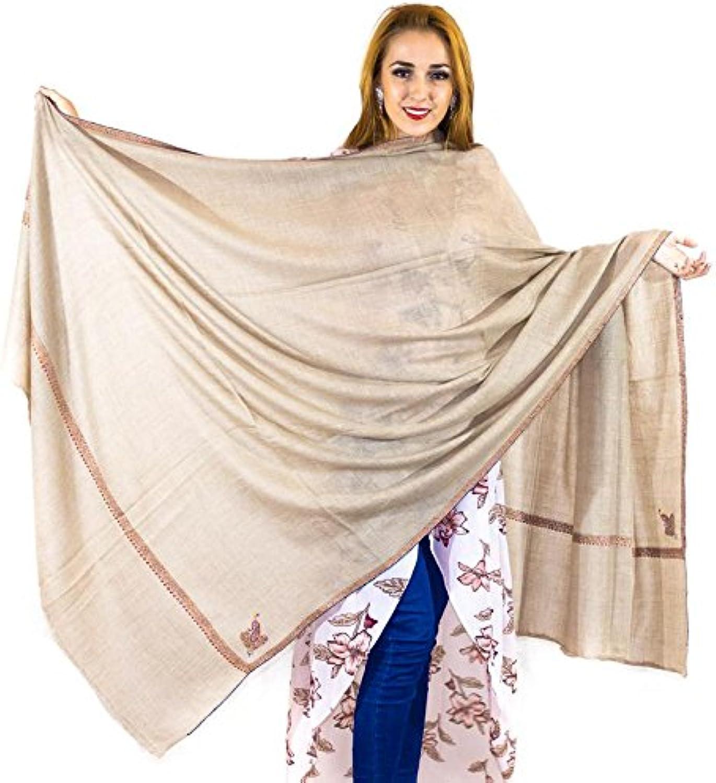 100% Pure Handmade Pashmina Jaal Embroidery Border Grey Shawl